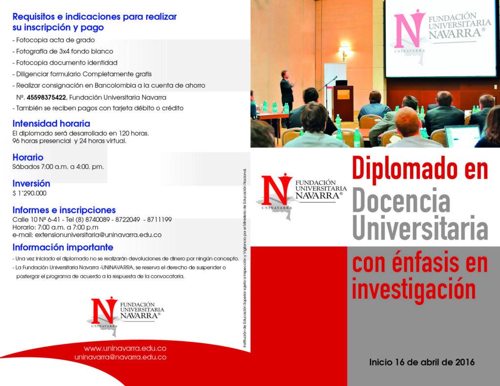 diplomado en docencia universitaria ENFASIS EN INVESTIGACION